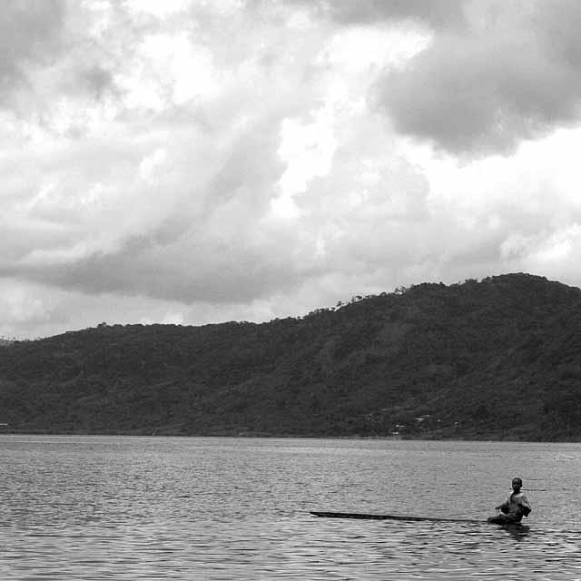 A fisherman on the lake
