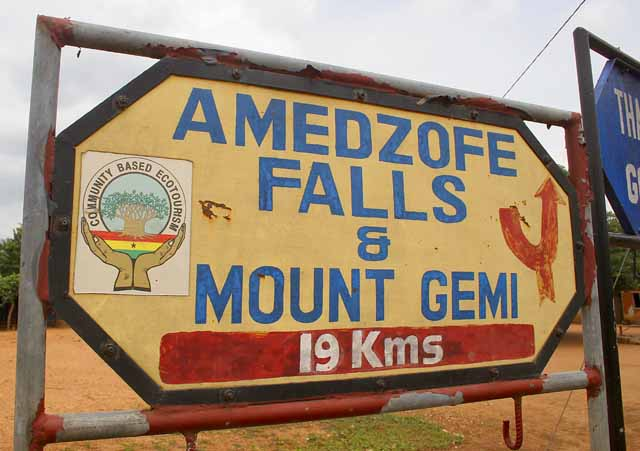 Sign for Amedzofe Falls and Mount Gemi