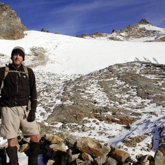 Greg at the base of Sahale Glacier