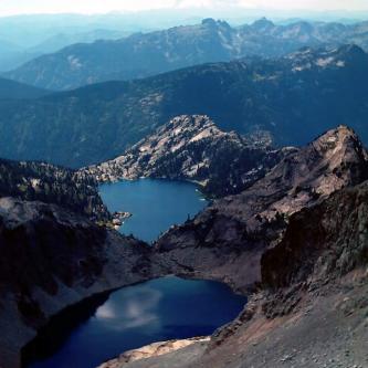 Venus and Spade lakes from summit - Mt. Daniel